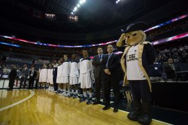 GW lines up before their game against Manhattan in the 2012 BB&T Classic. GW defeated Manhattan 67-55.